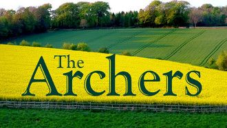 Archers logo over fields for the article BBC Archers Storyline and Unmarried Fathers Rights.